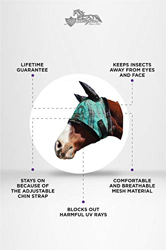Kensington Fly Mask with Fleece Trim and Soft Ears — Allows Full Visibility with Maximum Protection  — Features Original Double Locking System — UV Protection with Comfortable Fleece Trim by Kensington Protective Products (Image #1)