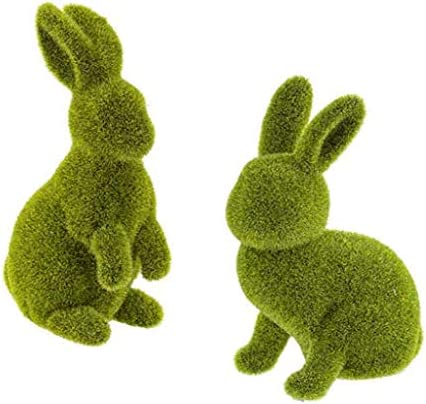 Home Party Decoration Green Moss Easter Bunny Accents Ideal for Easter Basket Stuffer Pack of 2 - Sitting /& Standing Rabbit, Size: 3 x 7