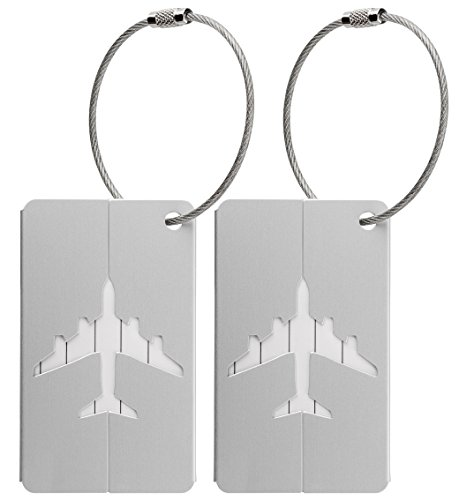 2x Luggage Baggage Tags with Name and Address Label - Silver Metallic