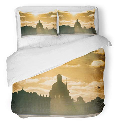 Emvency 3 Piece Duvet Cover Set Brushed Microfiber Fabric Breathable View of The Frozen Neva and St Isaacs Cathedral on Sunny Frosty Day Shadow Bedding Set with 2 Pillow Covers King Size -