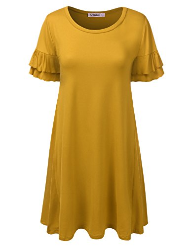 Solid amp; Summer Cwdsd0498 Floral Fit Dress Loose mustard Tunic Print CLOVERY Dress Women's wqYU4YH0