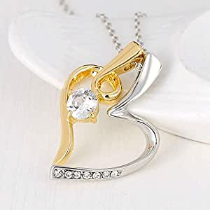 Unique Heart Necklace White Zircon KC+White Gold Plated Rhinestone Necklace