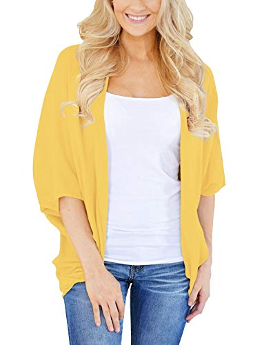 (Women's Autumn Solid Color Kimono Cardigan Loose Sleeves Open Front Cover Up for Women XX-Large Yellow)