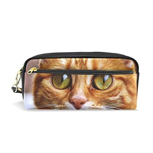 MUOOUM Cat Glass Eyes Pencil Case for Kids Pen Box Pouch Case Makeup Cosmetic Travel School Bag
