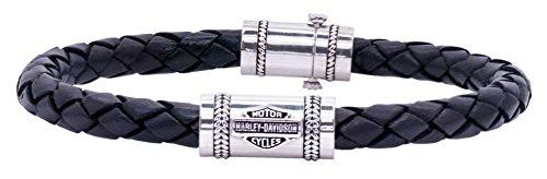 Harley-Davidson Men's Leather Silver Bar & Shield Rope Bracelet, Blk HDB0376 - Bracelets Harley