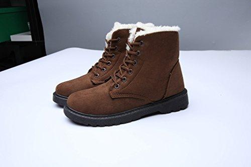 Lace Faux Marron Femme Chaussures Chaudes Cheville Bottes Hiver Baymate Fourrure Boots Up Flat Neige De vpqUS0