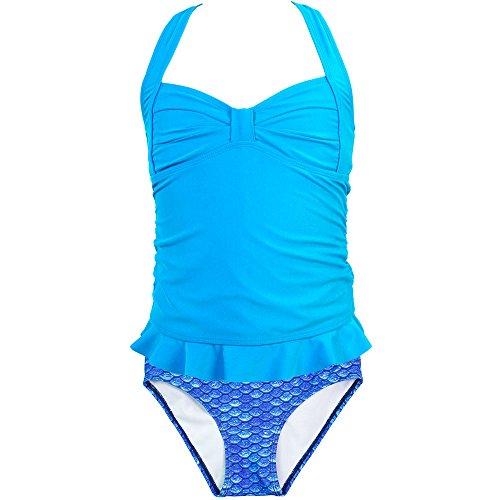 Fin Fun Mermaid Girls Clamshell Tankini Set, Blue Top, Arcti