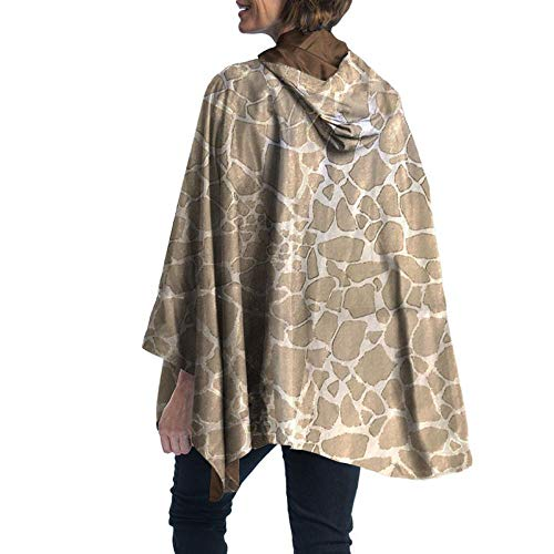 RainCaper Rain Poncho for Women - Reversible Rainproof Hooded Cape in Gorgeous Ultrasoft Colors (Bronze/Giraffe)
