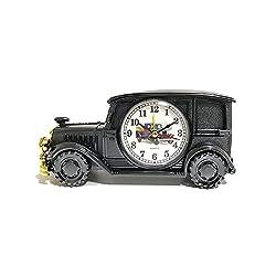 Desk Shelf Alarm Clock ROOVON Classic Vintage Antique Car Gift for Kids Electronic Clock Table Desk Shelf Decoration for Kids Sports Fan Gift, Black Gold