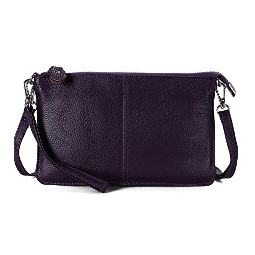 Befen Women's Leather Wristlet Clutch Phone Wallet, Mini Crossbody Purse Bag with Card Slots (Aubergine Purple)