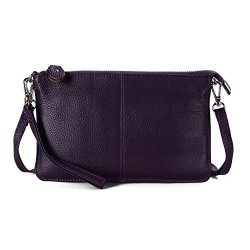- Befen Women's Leather Wristlet Clutch Phone Wallet, Mini Crossbody Purse Bag with Card Slots (Aubergine Purple)