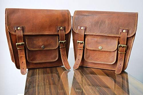 HBW 2 X Motorcycle Side Pouch Brown Leather Side Pouch Saddlebags Saddle Panniers ( 2 Bags ) Pre Valentines Day Special Sale!