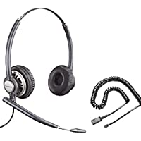 Polycom Compatible Plantronics VoIP Ultra Noise Canceling DUO Headset Bundle | SoundPoint®, VVX and CX Phones: IP 450, IP 501, IP 550, IP 560, IP 601, IP 650, IP 670, VVX300, VVX310, VVX400, VVX410, VVX500, VVX600, VVX1500, CX300, CX600