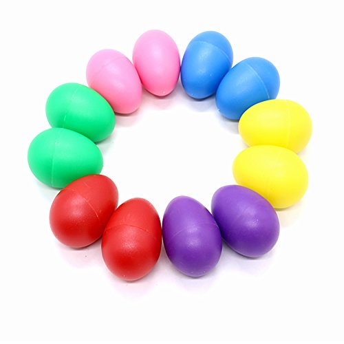 HUELE 12pcs Playful Plastic Percussion Musical Egg Maracas Egg Shakers Kids Toys- 6 Different Colors