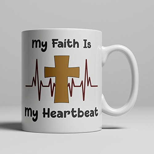 Christian Faith mug crucifix with My Faith Is My Heartbeat, religious gifts Christianity art confirmation baptism or christening coffee cup