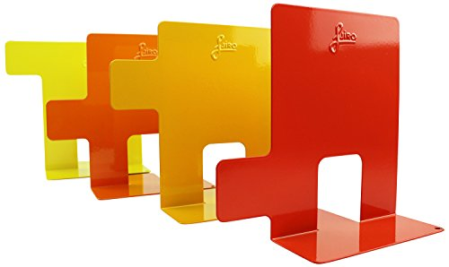 Set of 4 indexed metal Bookends by Jiro - modern style in red, orange, and yellow - 6.5 inches height