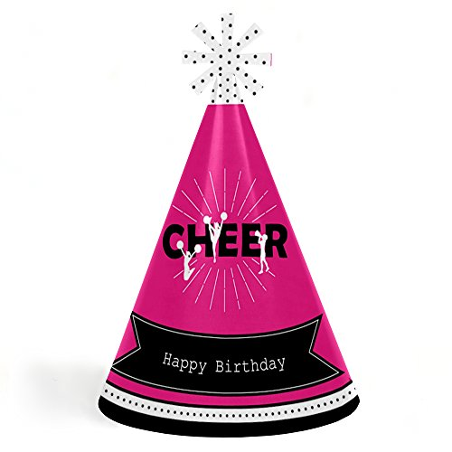 We've Got Spirit - Cheerleading - Cone Happy Birthday Party Hats for Kids and Adults - Set of 8 (Standard Size)