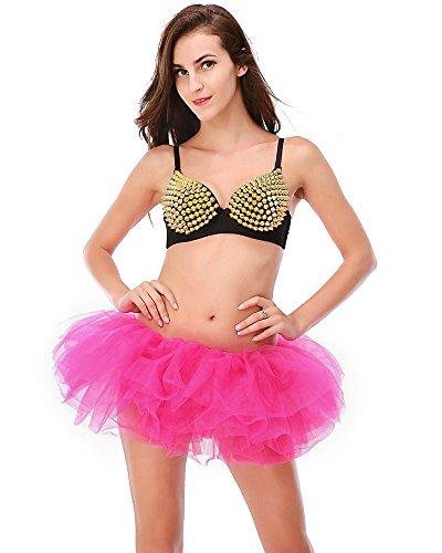 Rouge Femme Imixcity Couches Scne Rose Jupe Danse Courte Elastique Mini Dguisement 50 Pliss 6 Anne Bal pour Soire Tulle Ballet Cosplay BRdRq