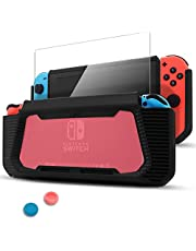 Dockable Case for Nintendo Switch [Updated],Pakesi Protective Accessories Cover Case for Nintendo Switch and Nintendo Switch Joy-Con Controller with a Tempered Glass Screen Protector