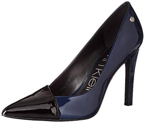 Calvin Klein Women's BRONIA Pump Black/Dark Navy Patent Smooth 9.5 M US