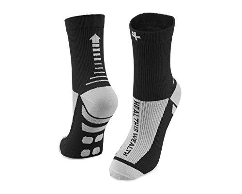 Health Is Wealth Plantar Fasciitis Relief Compression Socks Anti Fatigue Medical Sock Sleeve for Men and Women - Improves Blood Circulation, Provides Relief for Swelling, Cramps (Black, Large)
