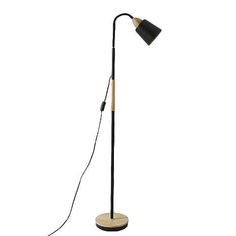 Lámpara de pie de Estilo nórdico, Base de Madera y Metal ...