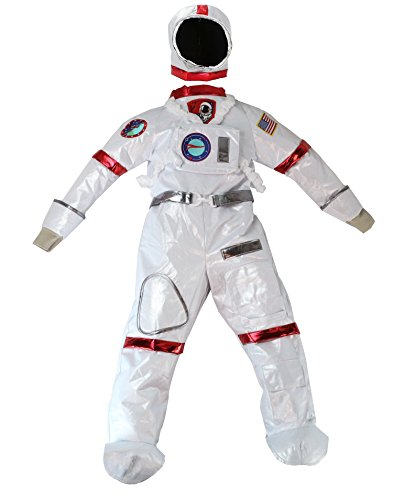 Halloween Costume Space Case (TeeTot White Astronaut Space Suit Costume with Silver Helmet Red Trim)