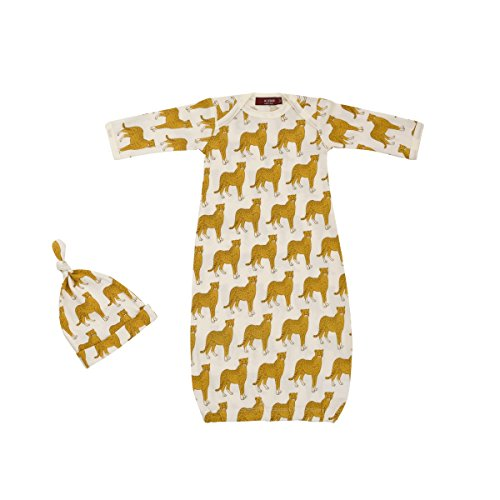 Milkbarn Organic Cotton Gown & Hat Set - Cheetah - 0-3 Months