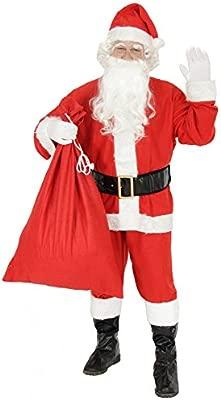 Foxxeo Traje de Papá Noel de 9 Piezas para Hombres - Talla: L - Traje de Papá Noel con sombreroCinturón y Guantes - Traje de Navidad Traje de Papá ...