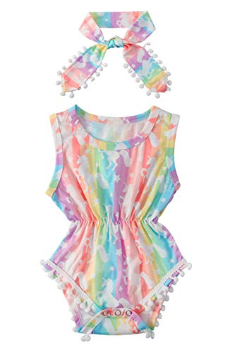 Baby Girls Romper Set Floral Rainbow Stripe Star Jumper + Headband Adorable Toddler Sleeveless Outfit Personalized Newborn Suit Vintage Pompom Tassel One Piece Rompers Kids Clothes Set Size 70