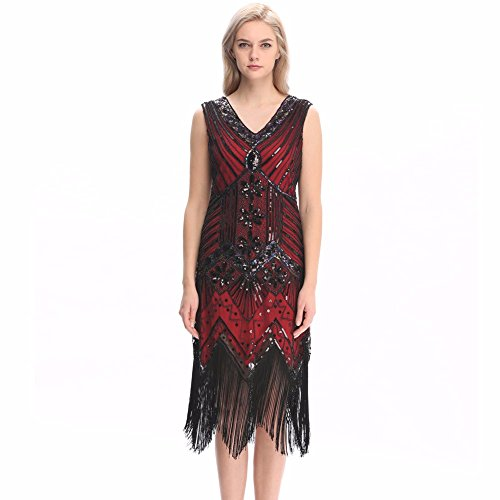Pilot-trade Lady Deluxe 1920s Roaring 20s Flapper Costume Pearl Sequin Outfit Fancy Dress (US2-4, Red)