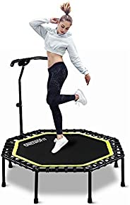 """ONETWOFIT 51"""" Silent Trampoline with Adjustable Handle Bar, Fitness Trampoline Bungee Rebounder Jumping C"""