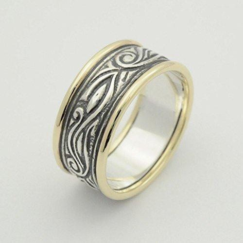 Handmade Celtic Two Tone oxidized wedding patterned ring size 6 to 9 - Filigree Rim
