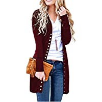 Women's Long Sleeve Snap Button Down Knit Ribbed Neckline Cotton Cardigan Duster