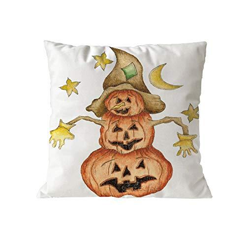 iCJJL Halloween Pumpkin Cushion Cover Square Pillow Case Thanksgiving Day Decor