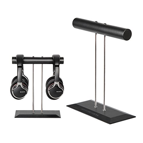 JackCubeDesign's Brand New Leather Headphone Stand Dual Headset Holder Display Earphone Hanger Rack Support for 2 Headphones(Black, 9.1 x 4 x 10.9 inches) – MK118A (Leather Stand)