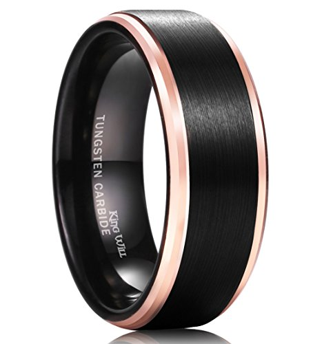 King Will DUO Mens 8MM Black Tungsten Carbide Ring Matte Brushed Wedding Band Rose Gold Plated Beveled Edge