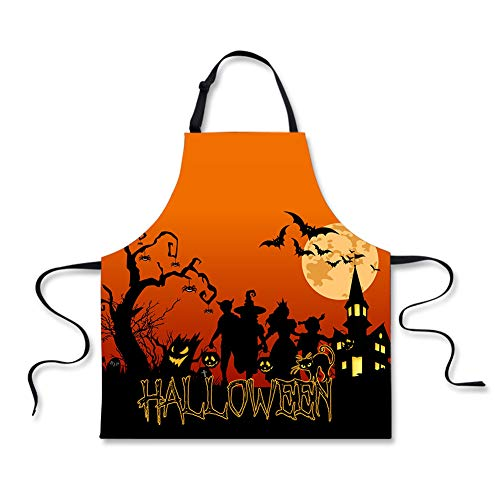 WHEREISART Halloween Apron, Unisex in Kitchen Witches Full Moon Traditional Celebration Adjustable Neck Gift