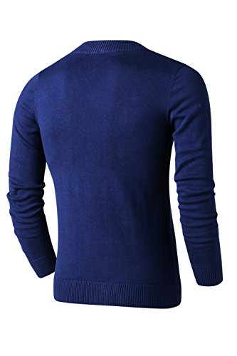 LTIFONE Mens Slim Comfortably Knitted Long Sleeve V-Neck Sweaters (X-Large, Blue)
