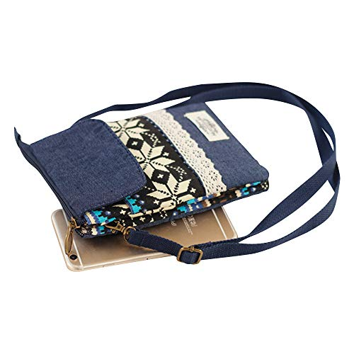 Blue Cckuu Printed Floral Women Ethnic Shoulder Phone Pouch Crossbody Bag Multicolor Canvas Bag wqZxagw