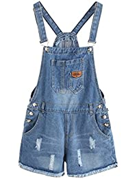 Women's Ripped Distressed Denim Overall Shorts Romper