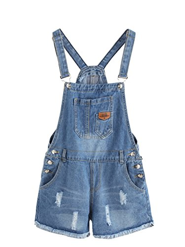 MakeMeChic Women's Ripped Distressed Denim Overall Shorts Romper 1-Blue M (Women Denim Overalls)