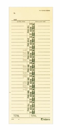 "Adams Time Cards, Weekly, 1-Sided, Numbered Days, 3-3/8"" x 9"", Manila, Green Print, 200-Count (9656-200)"