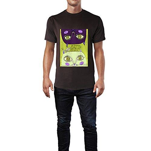 SINUS ART® Zwei süße handgezeichnete Katzen Herren T-Shirts in Schokolade braun Fun Shirt mit tollen Aufdruck