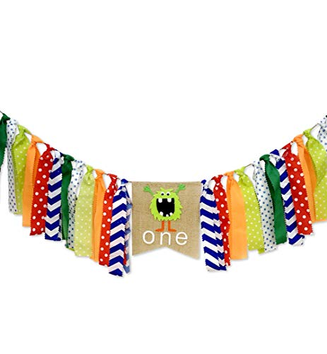 Little Monster Themed Highchair Banner for First Birthday Cake Photo Shoot, Party Supplies and Decorations for Baby 1st Year Birthday Chair Garland for Party Picture Backdrop Decoration]()