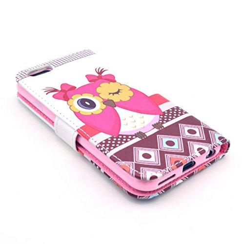 Owl Painting Art Design Beutel PU Leder Stehen Flip Schutzhülle Hülle Tasche Schale Case Cover für Apple iPhone 6 4.7 Zoll (11#)
