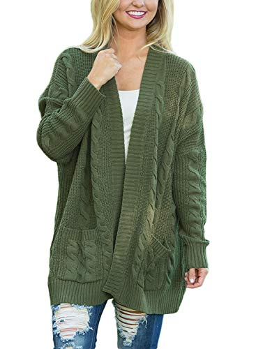 Chunky Wool Cardigan - BLENCOT Womens Cute Fall Sweaters Chunky Thick Open Front Cardigans Army Green Long Sweaters Knit Pullover Tops Pocket Medium