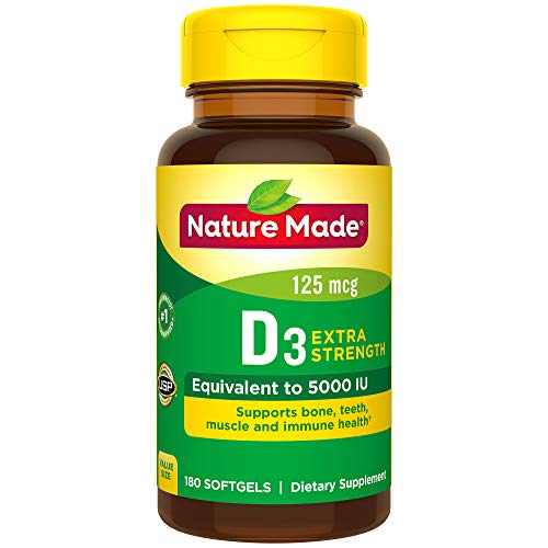 Nature Made Extra Strength Vitamin D3 5000 IU (125 mcg) Softgels, 180 Count for Bone Health† (Packaging May Vary) (Natures Made Vitamin D)