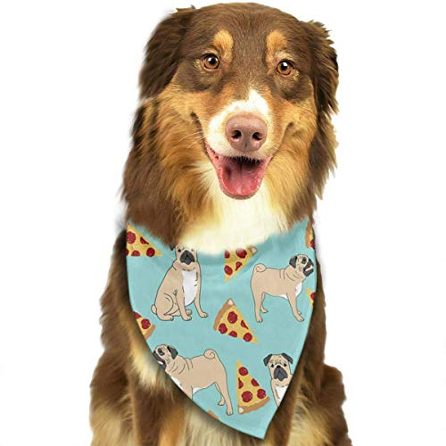 Bandana-Washable and Adjustable Pet Triangle Scarf Bibs Funny Vector Dogs Pug Puppies Pattern Pizza Accessories for Small Medium Large Dogs/Cats