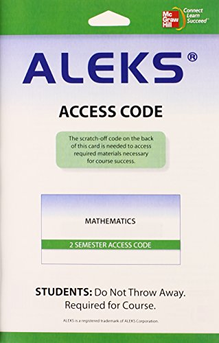 ALEKS for Mathematics 40 Weeks User Guide and Access Code...
